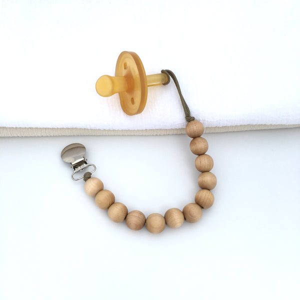 Beaded Pacifier Holder Classic Wood Bubble Clip by Meadoria