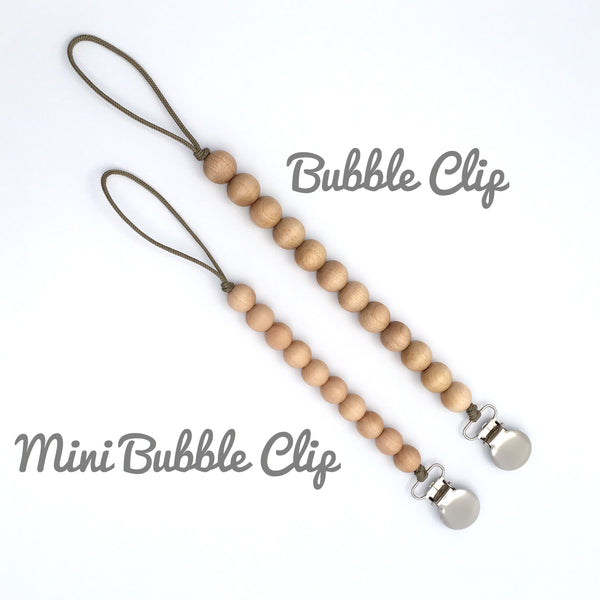 Meadoria Pacifier Holder Beaded Classic Wood Mini Bubble Clip