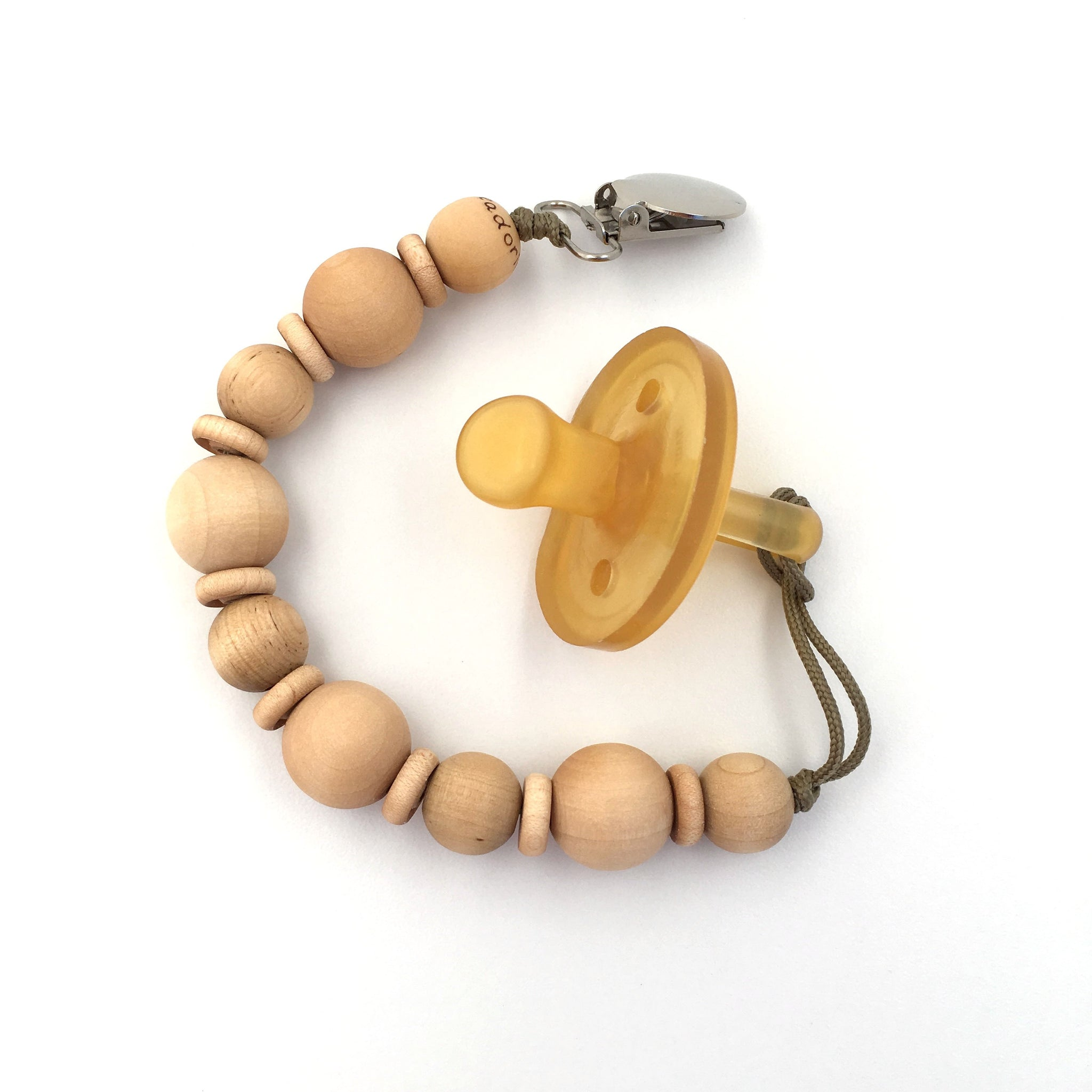 Natural Wood Beaded Pacifier Cleo Clip by Meadoria