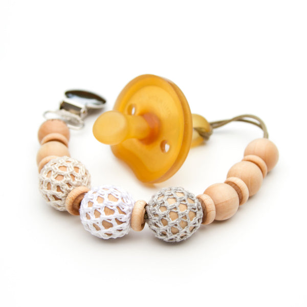 Gender Neutral Crochet Wood Beads Pacifier Clip Ivory White and Grey