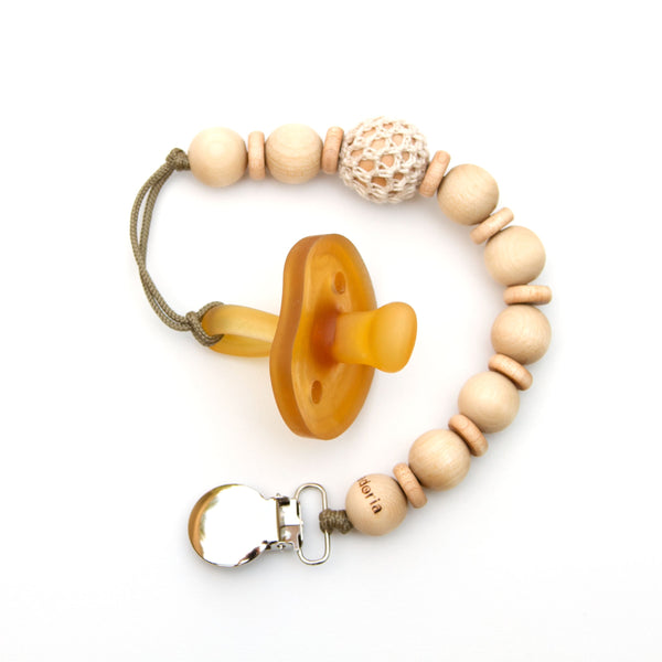 Meadoria Ivory Wood Beaded Pacifier Flynn Clip