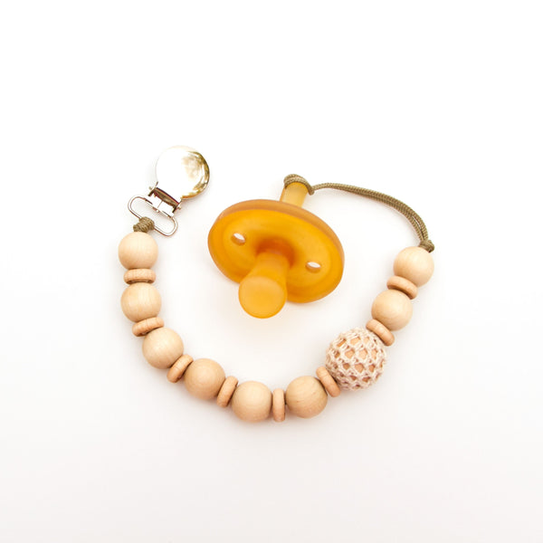 Wood Beaded Pacifier Flynn Clip Ivory by Meadoria