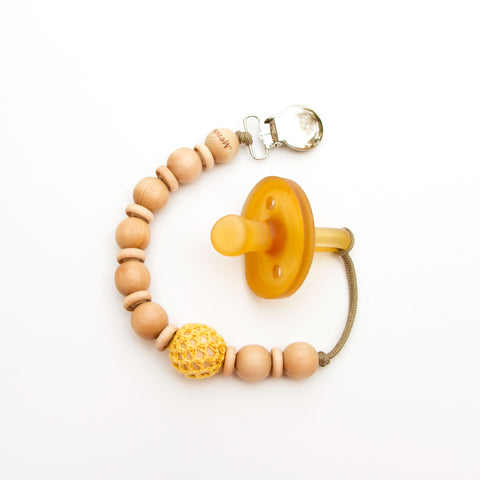 Yellow Crochet Wood Beads Pacifier Flynn Clip Alt by Meadoria