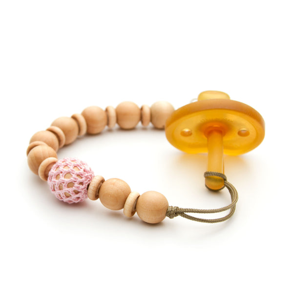 Crochet Over Wood Pink Flynn Beaded Pacifier Clip