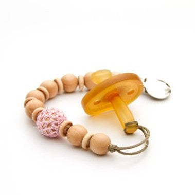 Beaded Pacifier Clip with Crochet Over Wood Pink Flynn