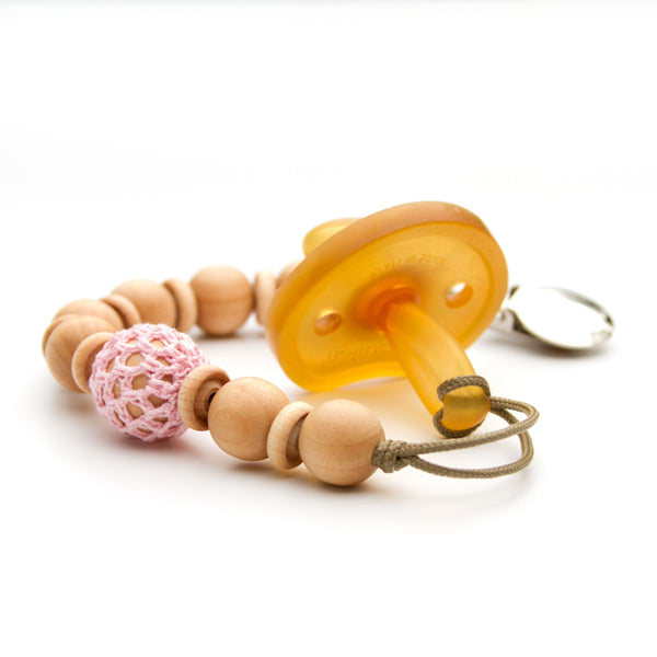 Pacifier Clip Beaded Crochet Over Wood in Pink Flynn