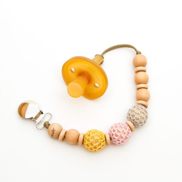 Beaded Pacifier Clip for Baby Girl Crochet Over Wood Yellow Pink Grey Flynn
