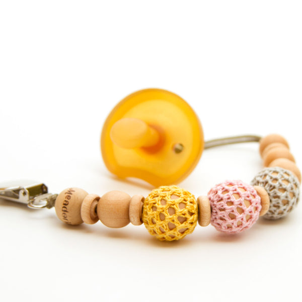 Pacifier Clip Beaded for Baby Girl Crochet Over Wood Yellow Pink Grey Flynn