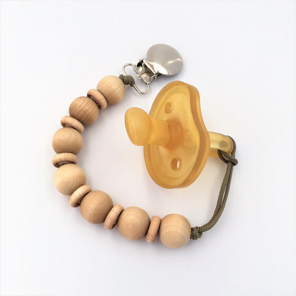 Meadoria Mini Cleo Clip Minimalist Wood Beaded Pacifier Holder