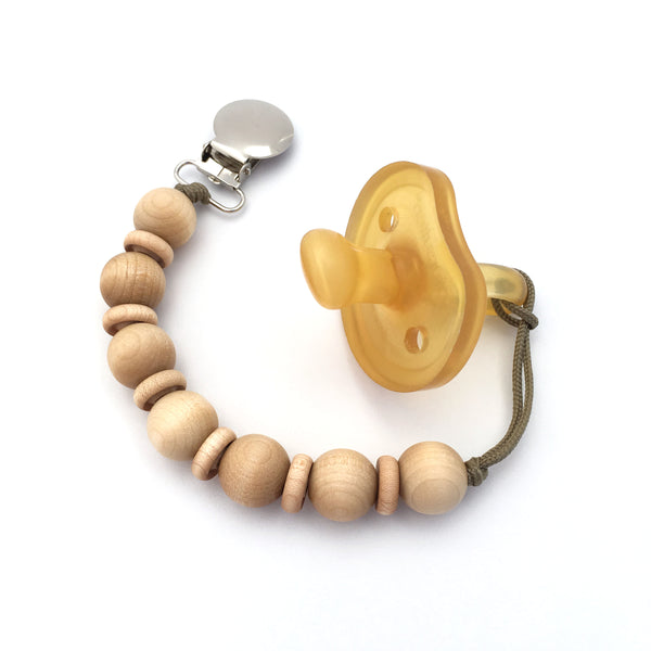 Minimalist Wood Beaded Pacifier Holder Mini Cleo Clip by Meadoria