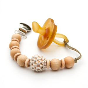 Ivory Wooden Beaded Pacifier Mini Flynn Clip by Meadoria