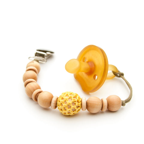 Yellow Wooden Bead Pacifier Holder Mini Flynn Clip by Meadoria