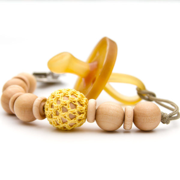 Meadoria Yellow Wooden Bead Pacifier Holder Mini Flynn Clip