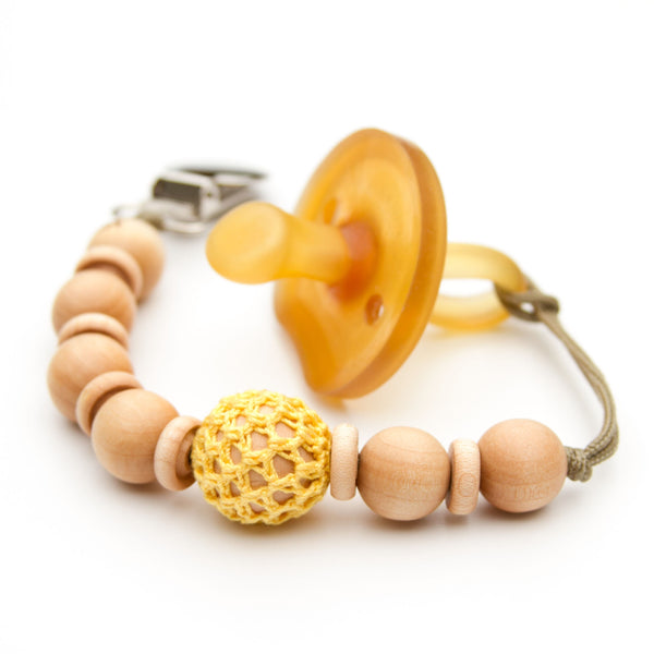 Wooden Bead Pacifier Holder Mini Flynn Clip  in Yellow by Meadoria