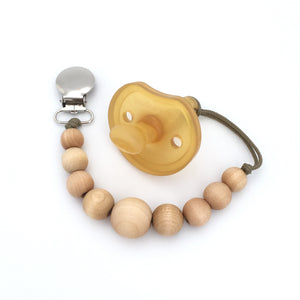 Simple Wood Bead Pacifier Holder Mini Twinkle Clip by Meadoria