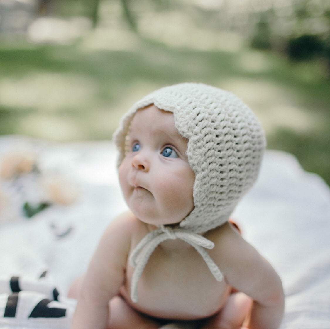 Meadoria Handmade Crochet Baby Girl Ria Bonnet in Ivory