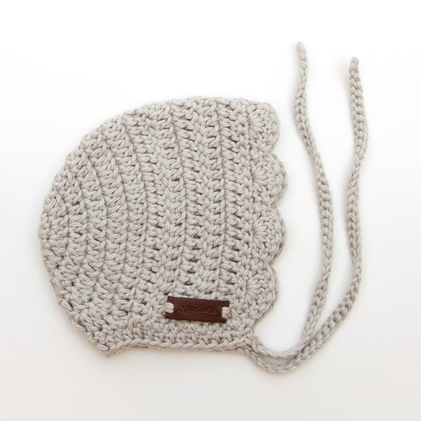 Crochet Newborn Baby Girl Hat Ria Bonnet by Meadoria in Grey