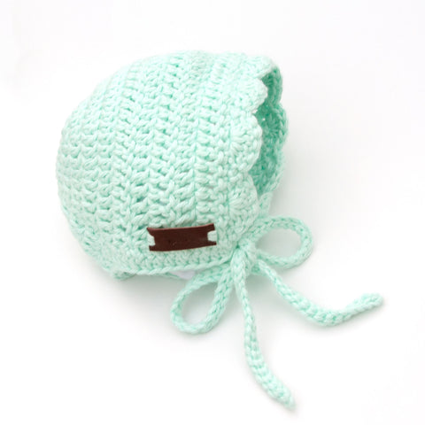 Mint Green Handmade Newborn Ria Bonnet by Meadoria