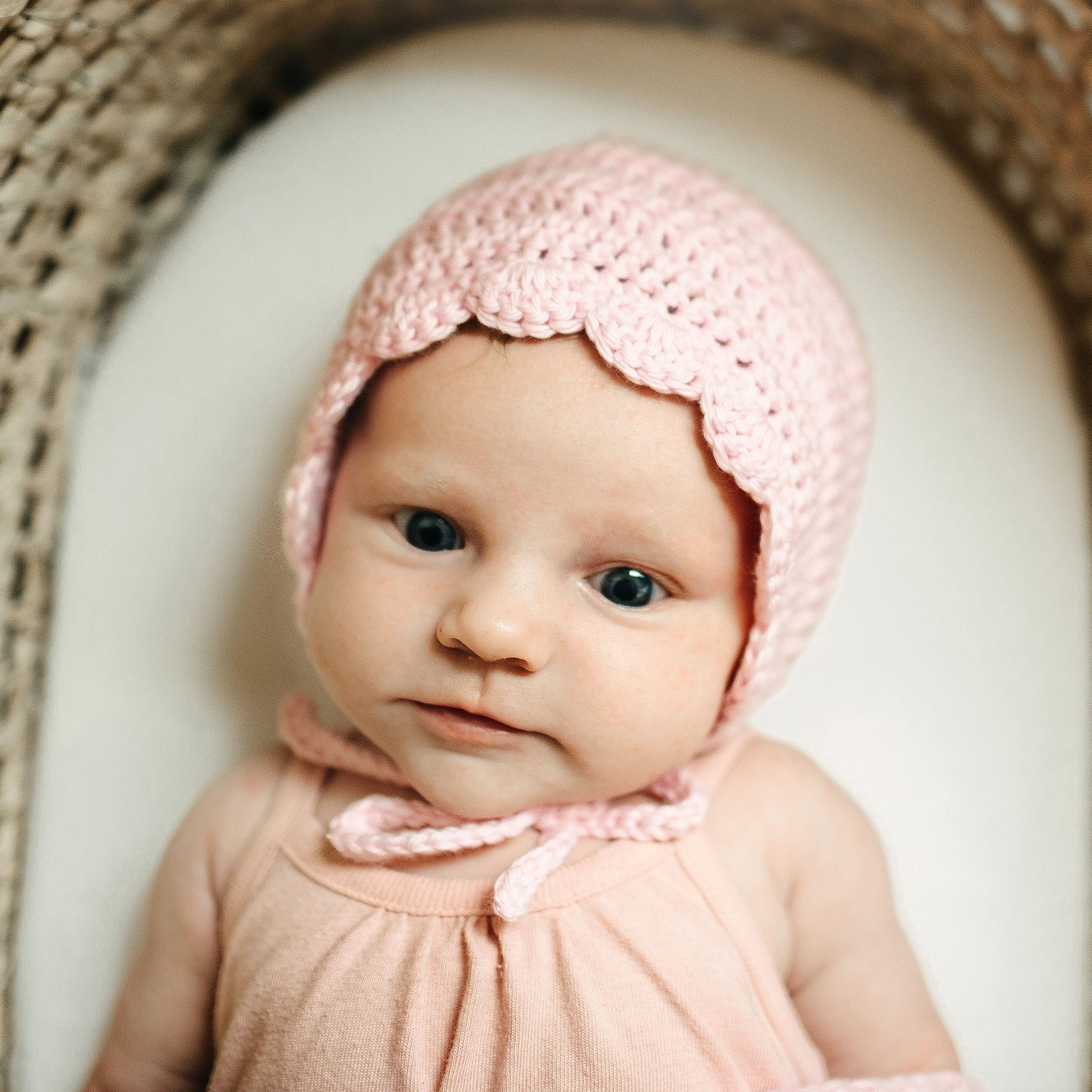 Ria Bonnet Hospital Hat for Baby Girl in Light Pink