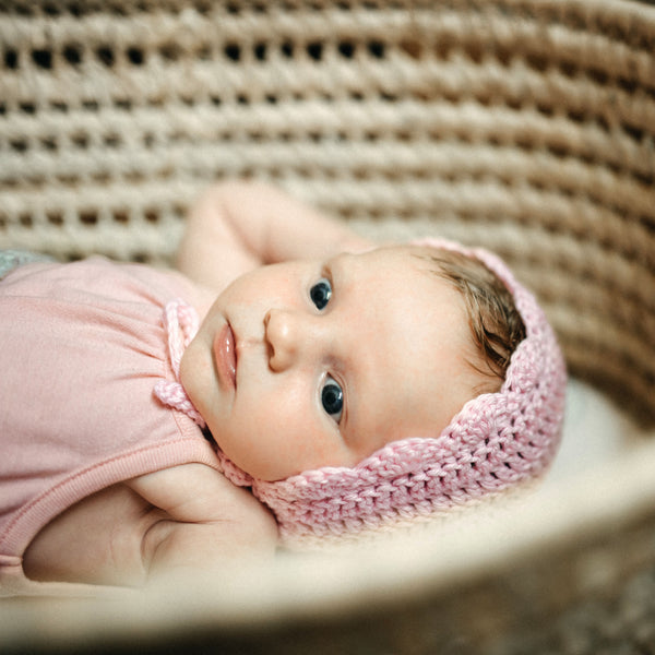 Light Pink Hospital Hat Ria Bonnet for Baby Girl