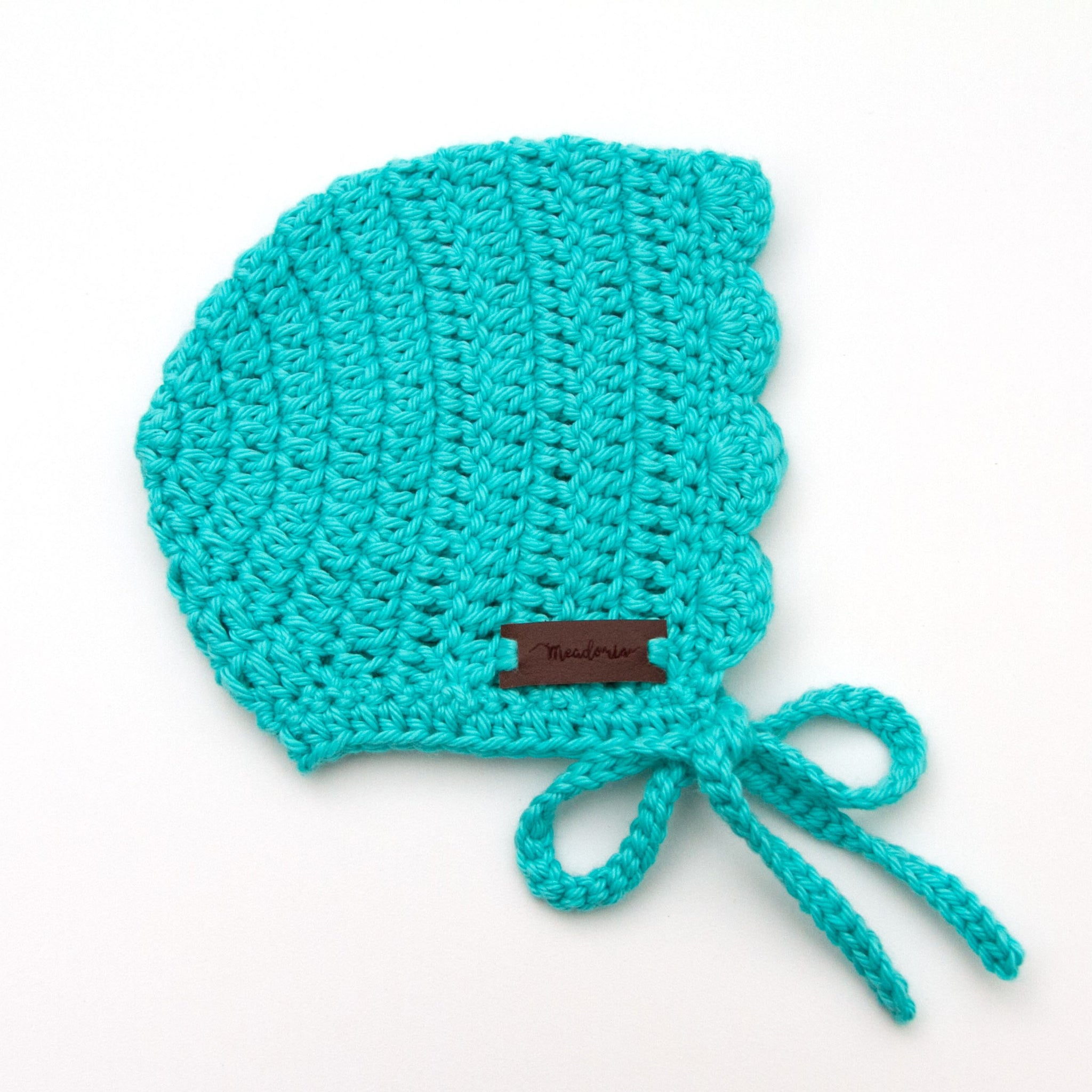 Crochet Cotton Ria Baby Bonnet Teal Blue