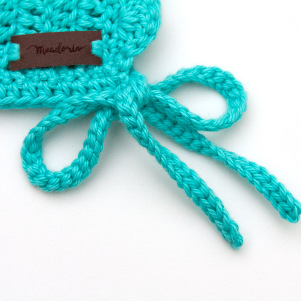 Teal Blue Baby Crochet Cotton Ria Bonnet