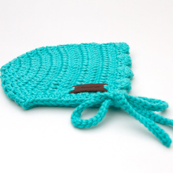 Baby Ria Bonnet Crochet Cotton Teal Blue