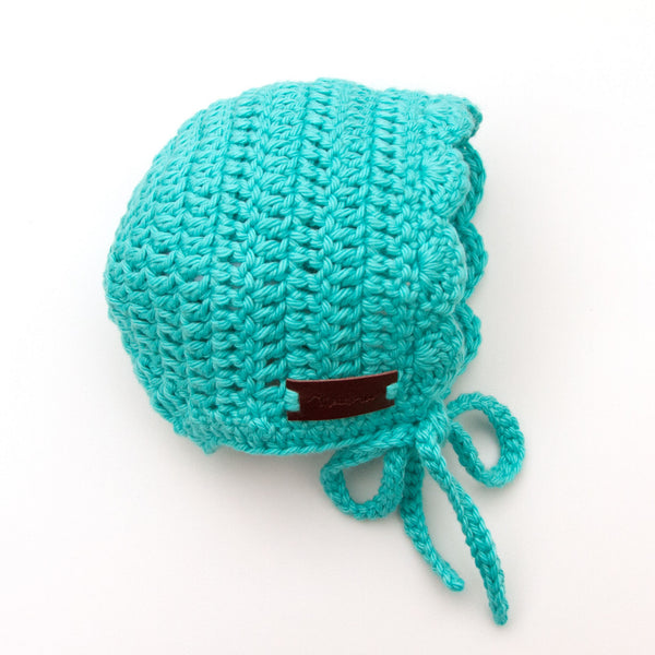 Ria Baby Bonnet Crochet Cotton Teal Blue