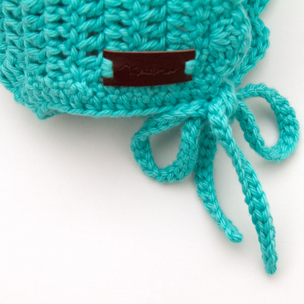 Teal Blue Baby Ria Bonnet Crochet Cotton