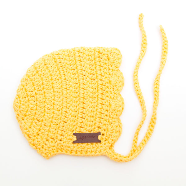 Meadoria Yellow Crochet Baby Girl Hat Ria Bonnet