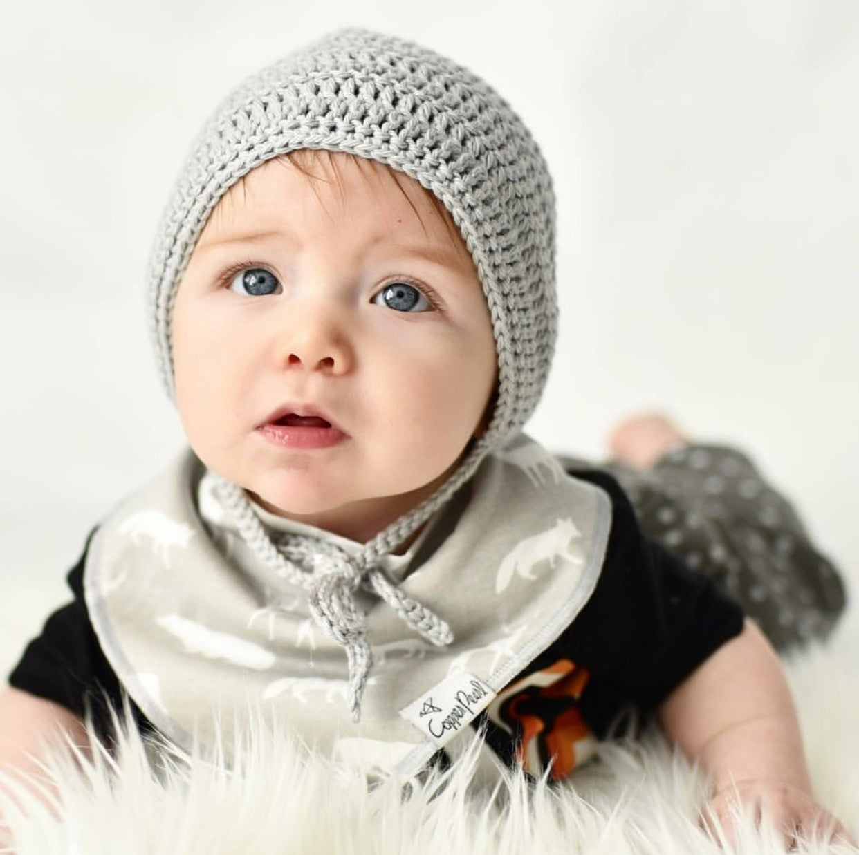 Grey Rio Bonnet Crochet Cotton for Baby Boy