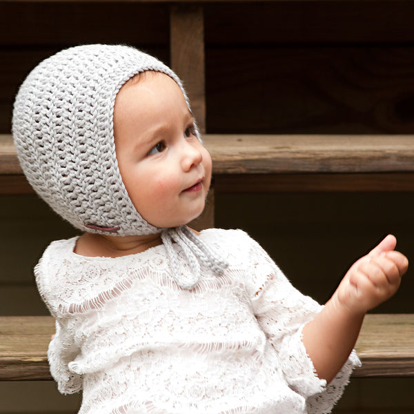 Rio Bonnet for Baby Boy Crochet Cotton in Grey