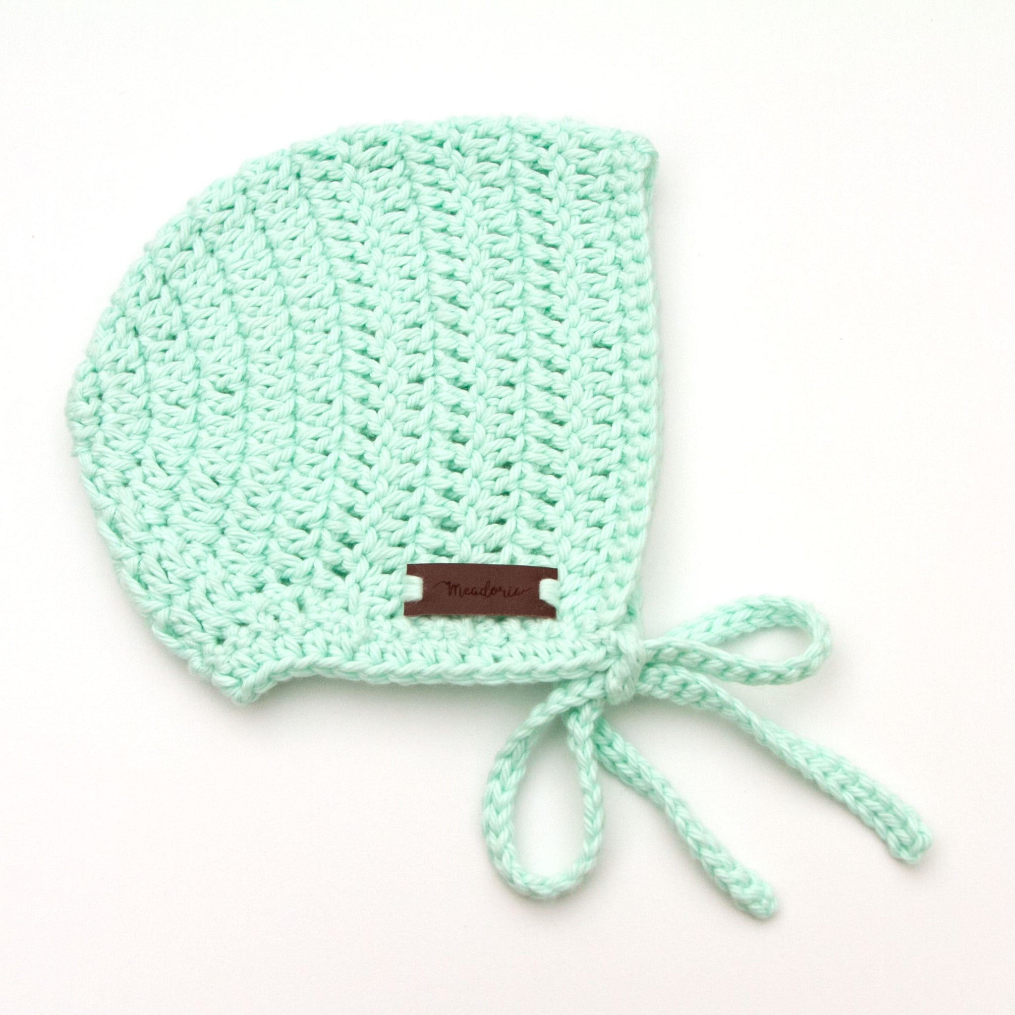 Newborn Rio Bonnet Pastel Mint Crochet Cotton