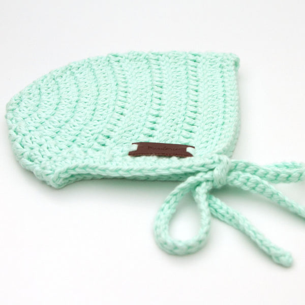 Newborn Crochet Cotton Rio Bonnet Pastel Mint