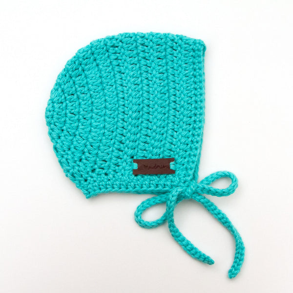 Rio Bonnet Crochet Baby Boy Teal Blue