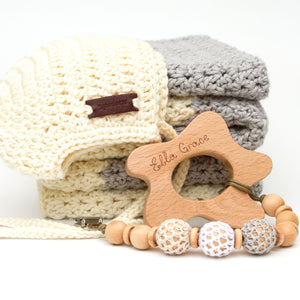 Neutral New Baby Gift Set Blanket, Rio Bonnet, Pacifier Clip, Teether
