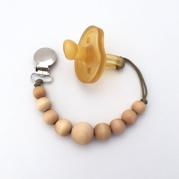 Meadoria Simple Wood Bead Mini Twinkle Clip Pacifier Holder