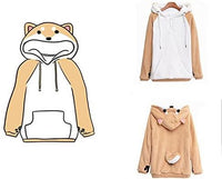 CORIRESHA Cute Coral Celvet Long Sleeve Shiba Inu Dog Home Wear Clothes Hoodie Sweatshirt with 3D Dog Ear and Dog Tail - CatsInHeart