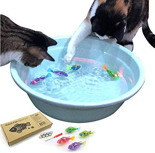 BlackHole Litter Mat Interactive Swimming Robot Fish Toy for Cat with LED Light (4 pcs), Electronic Cat Toy to Stimulate Your Cat's Hunter Instincts - CatsInHeart