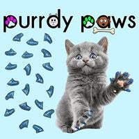 Purrdy Paws Soft Nail Caps for Cat Claws Blue Glitter - CatsInHeart