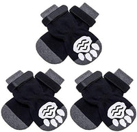 KOOLTAIL Anti-Slip Dog Socks with Strap 3 Pairs - Non Skid Knit Dogs Boot Rubber Sole Traction Control Paw Protectors for Dog Cat Indoor Wear - CatsInHeart