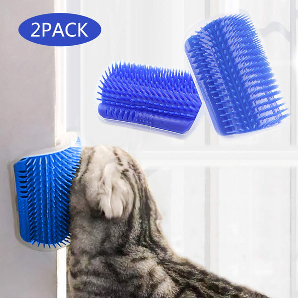 STARROAD-TIM cat self Groomer with cathip Cat Self Grooming Corner Wall Brush Dog Cat Corner Groomer,Wall Corner Massage Comb Grooming Brush (New Upgrade Two Pieces)