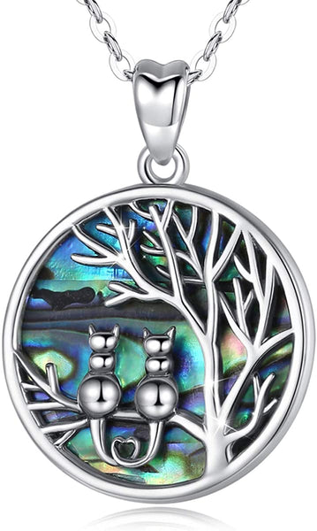 AEONSLOVE Tree of Life Necklace Sterling Silver Abalone Shell Necklace Pendant Cat Necklaces Family Tree Jewelry Birthday Anniversary Cat Lover Gifts for Women Girls Grandma Wife Mother Daughter - CatsInHeart