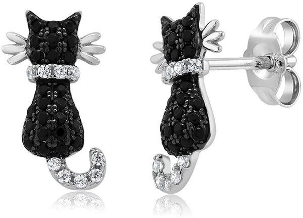 Gem Stone King Cat Stud Earrings 925 Sterling Silver Black and White Cubic Zirconia CZ Jewelry 0.54 Cttw 1/2 Inch - CatsInHeart