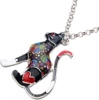 BONSNY Statement Enamel Alloy Chain Cat Necklaces Pendant Original Design Women Girls Jewelry Gift Charms