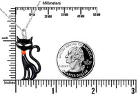Sterling Silver Cute Cat Lover Gift Cat Pendant Necklace for Women Teen Girls, 18 Inches