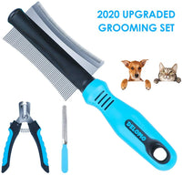 DELOMO Pet Grooming & Deshedding Tool Kit, Dog Deshedding Brush, Safe Nail Clippers for Dogs, Effective Pet Nail Clippers and Trimmer for Dog & Cat with Long & Short Fur