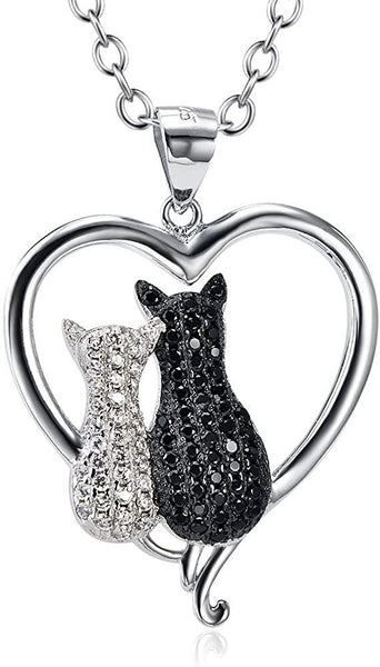 Angel caller Cat Necklaces 925 Sterling Silver Jewelry Cute Double Two-Tone Cat Pendant Cubic Zirconia Necklace Rolo Chain,Eternal Love Heart Necklace for Women,Girls - CatsInHeart