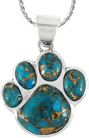 "Dog or Cat Paw Necklace Pendant 925 Sterling Silver Genuine Gemstones (with 20"" Chain) - CatsInHeart"