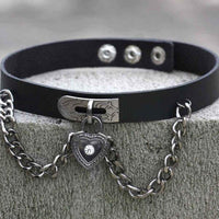 MJartoria Gothic Jewelry-PU Leather Choker Necklace for Women-O-Ring Heart Punk Rock Adjustable Black Collar Choker Cosplayer - CatsInHeart